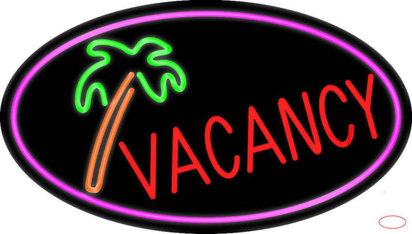 Vacancy Tree With Pink Border Real Neon Glass Tube Neon Sign
