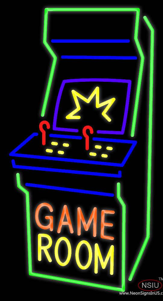 Game Room Arcade Cabinet Real Neon Glass Tube Neon Sign