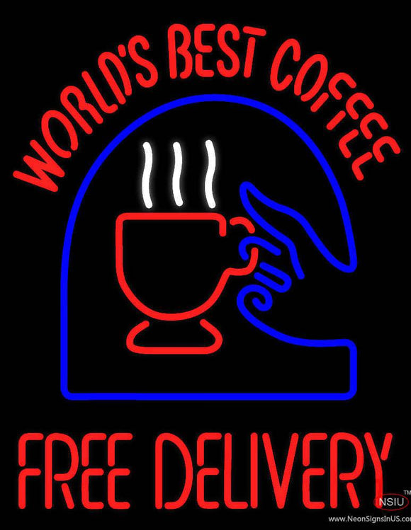 Worlds Best Coffee With Logo Real Neon Glass Tube Neon Sign