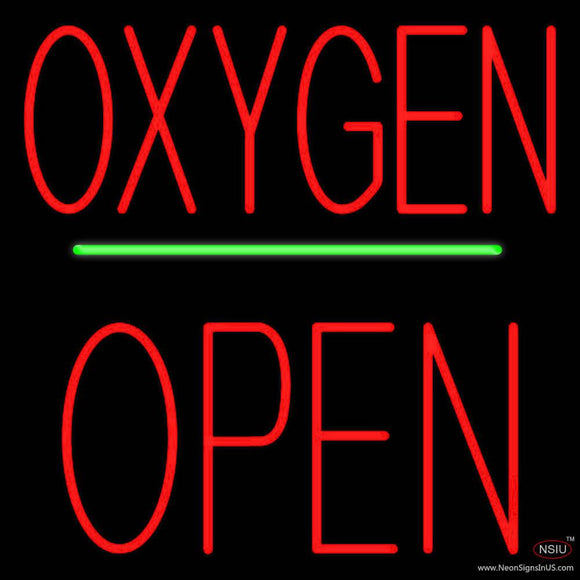 Oxygen Block Open Green Line Real Neon Glass Tube Neon Sign