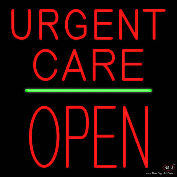 Urgent Care Block Open Green Line Real Neon Glass Tube Neon Sign