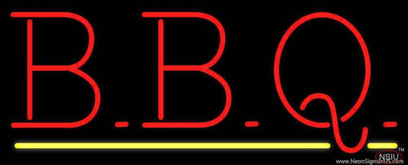 BBQ with Yellow Line Real Neon Glass Tube Neon Sign