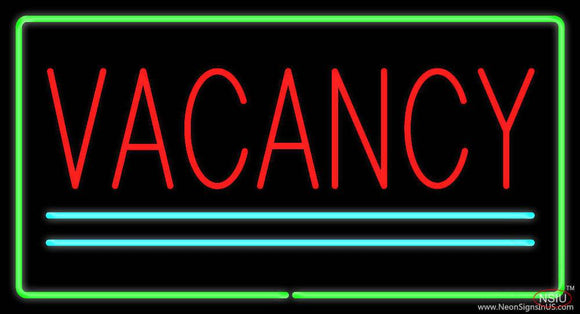 Vacancy Rectangle Green Real Neon Glass Tube Neon Sign