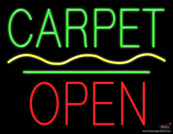 Carpet Block Open Green Line Real Neon Glass Tube Neon Sign