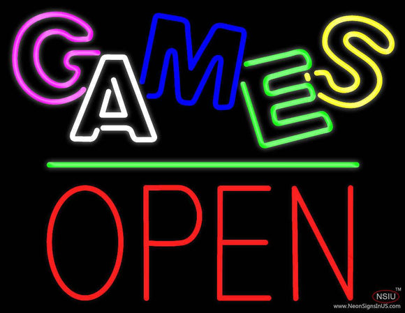 Games Block Open Green Line Real Neon Glass Tube Neon Sign