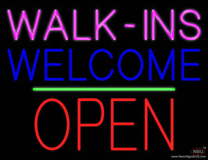 Walk-ins Welcome Block Open Green Line Real Neon Glass Tube Neon Sign