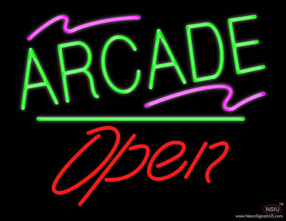 Arcade Open White Line Real Neon Glass Tube Neon Sign