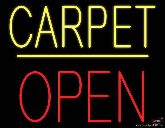 Carpet Block Open Yellow Line Real Neon Glass Tube Neon Sign