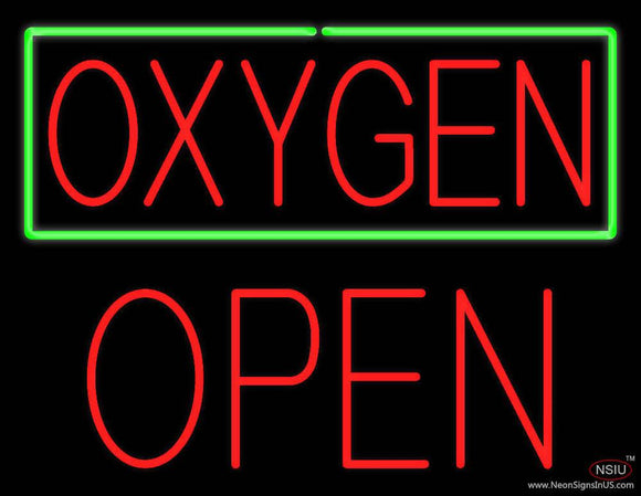 Oxygen Green Border Block Open Real Neon Glass Tube Neon Sign