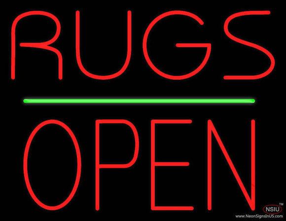 Rugs Block Open Green Line Real Neon Glass Tube Neon Sign