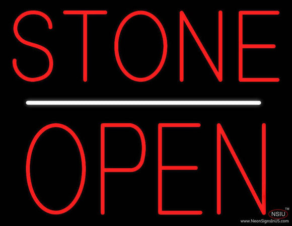 Stone Block Open White Line Real Neon Glass Tube Neon Sign