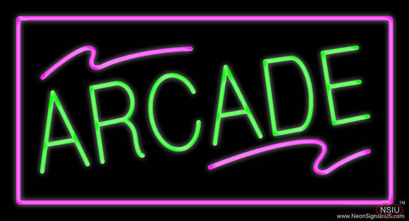 Arcade Rectangle Purple Real Neon Glass Tube Neon Sign