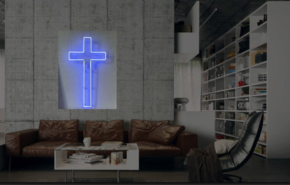 New Christian Cross Neon Art Sign Handmade Visual Artwork Wall Decor Light