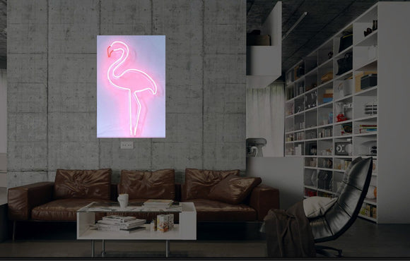 New Pink Flamingo Neon Art Sign Handmade Visual Artwork Wall Decor Light