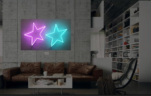 New Stars Neon Art Sign Handmade Visual Artwork Wall Decor Light