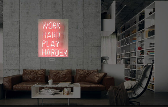 New Work Hard PLay Harder Neon Art Sign Handmade Visual Artwork Wall Decor Light