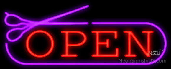 Open With Scissors Neon Sign