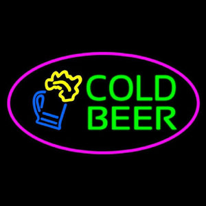 Pink Oval Cold Beer Handmade Art Neon Sign