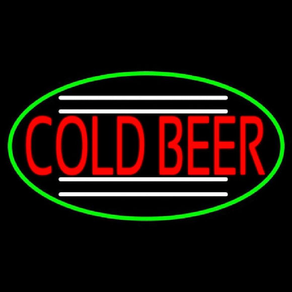Red Cold Beer Oval With Green Border Handmade Art Neon Sign