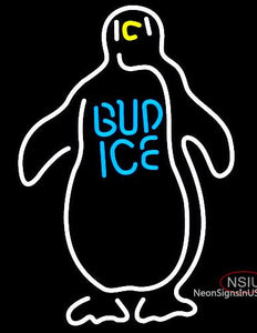 Budweiser Bud Ice Penguin Neon Beer Sign
