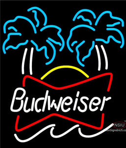 Bud Dual Palm Trees Neon Beer Sign