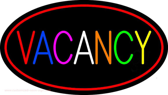 Multi Colored Vacancy With Red Border Handmade Art Neon Sign