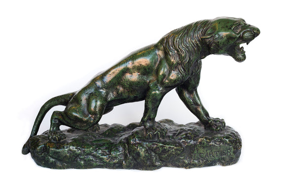 19th century Bronze with green patina Roaring panther by Thomas Francois Cartier