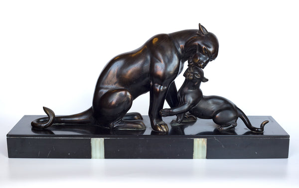 A Patinated Bronze Panther with a cub by Irenee Rochard (1906-1984)