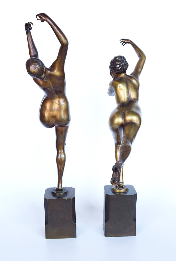 "Art Deco sculptures by H. Calot ""Nude Dancer"" and ""Roller skater"""