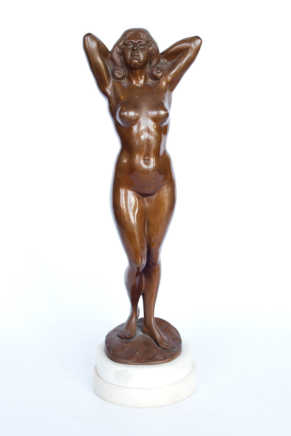 Bronze figure of a nude woman by Gyula (Julius) Maugsch