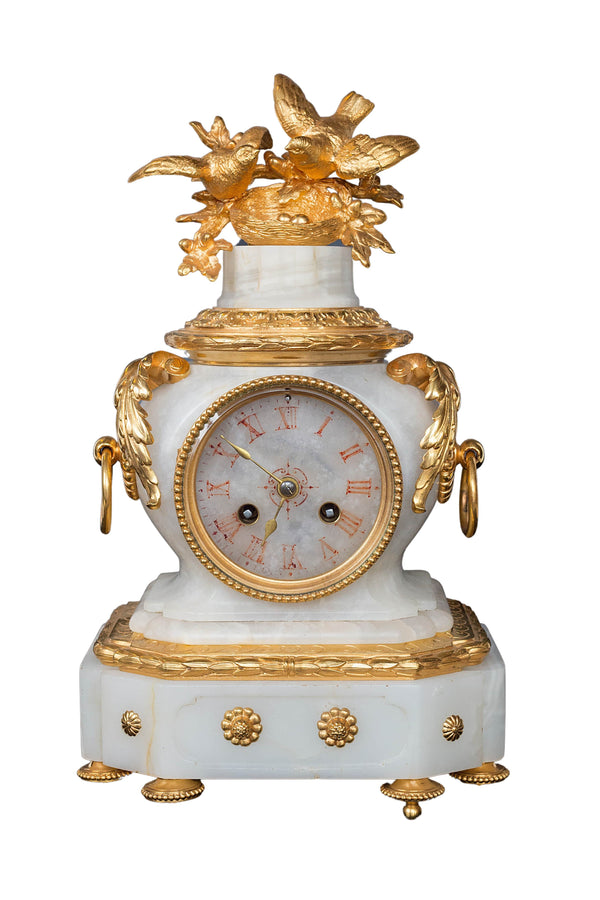 French 19th-century Ormolu white marble mantel clock