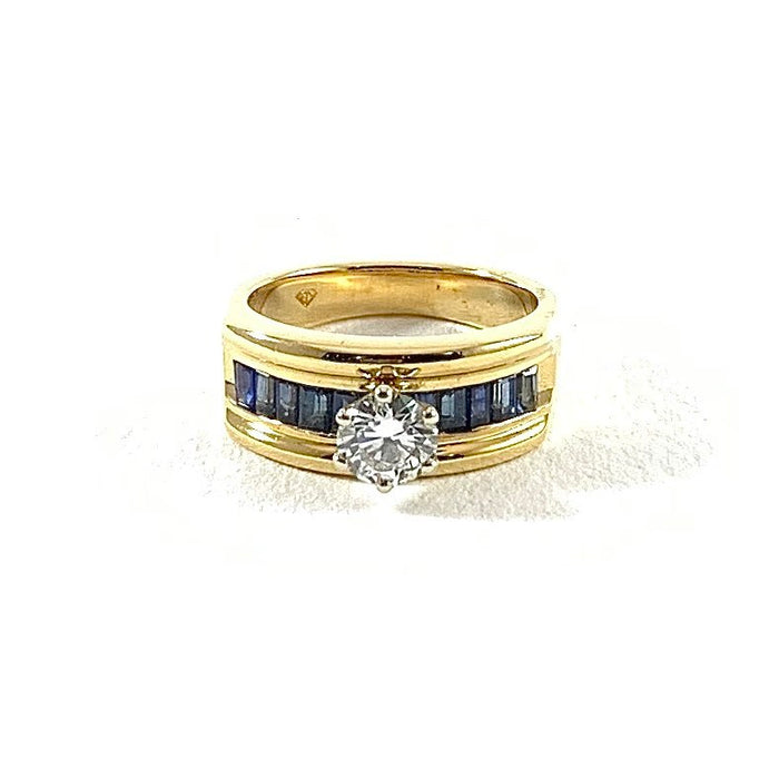 0.59ct Diamond and Sapphire Baguette Ring