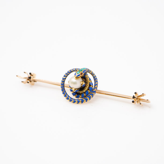 Pearl and Turquoise Enameled Snake Pin