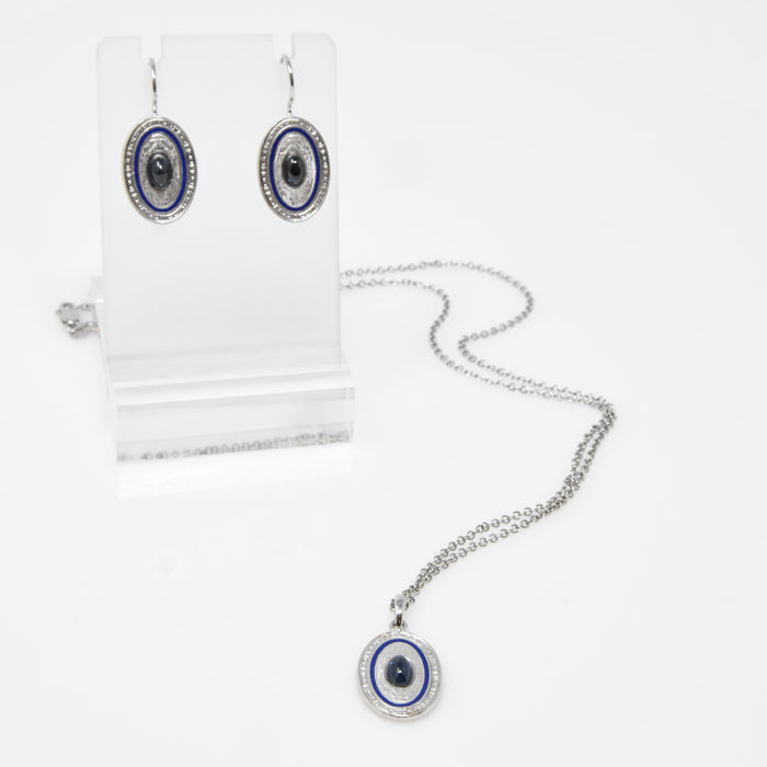 Sapphire Earrings and Necklace Set