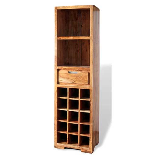 Wine bottle acacia wood tall storage unit