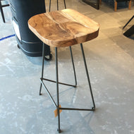 Industrial saddle seat Acacia wood bar stool