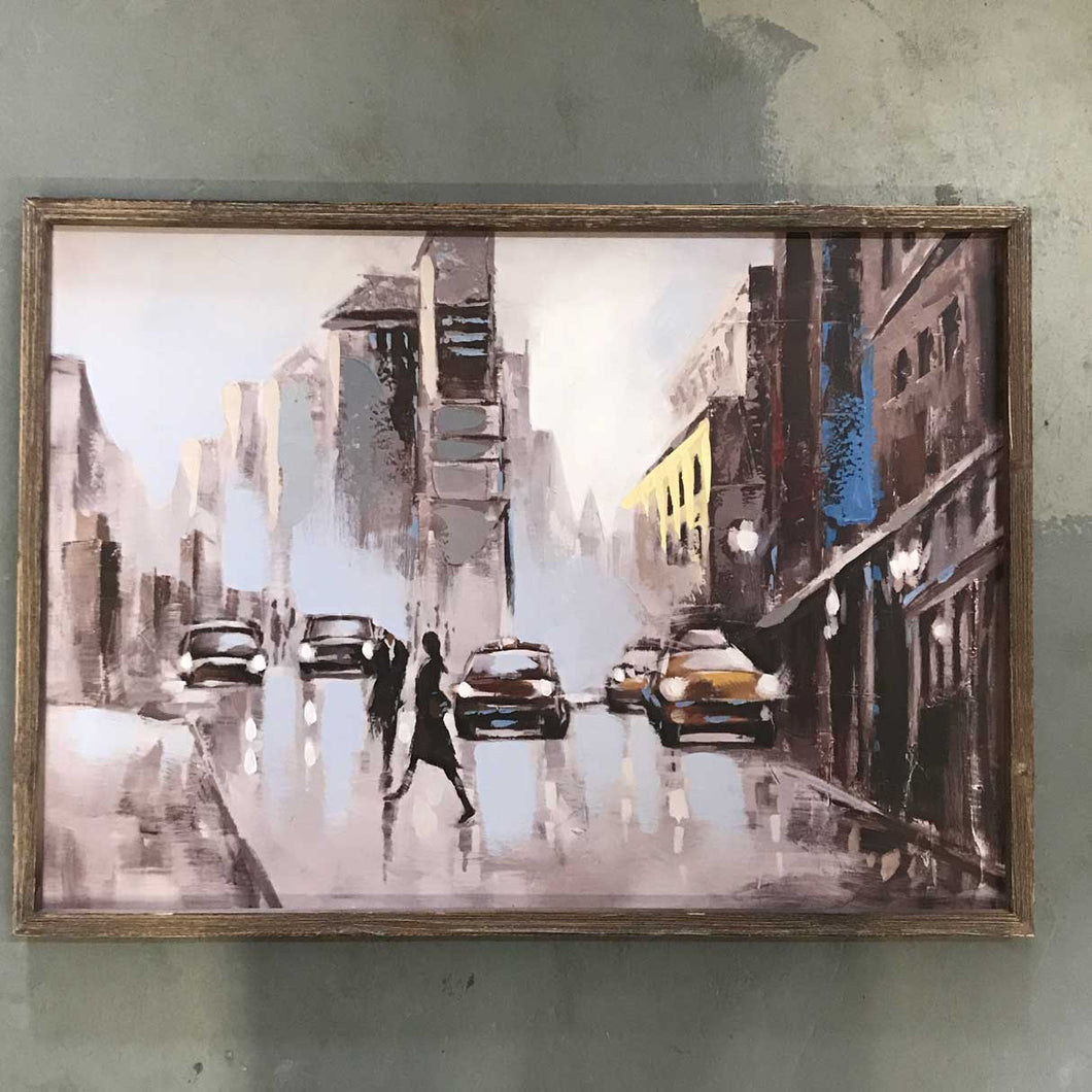 Framed city evening in the Rain painting