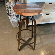 Industrial recycled wood counter stool