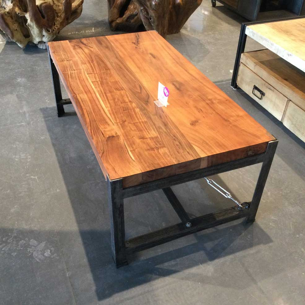 Industrial acacia coffee table