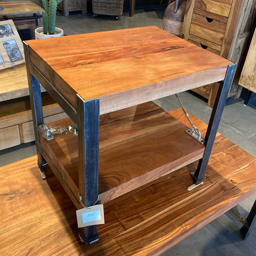 Industrial acacia end table with wires