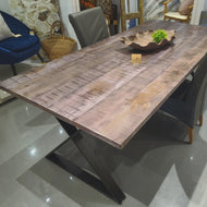 84 inch Bates Grey Mango wood dining table