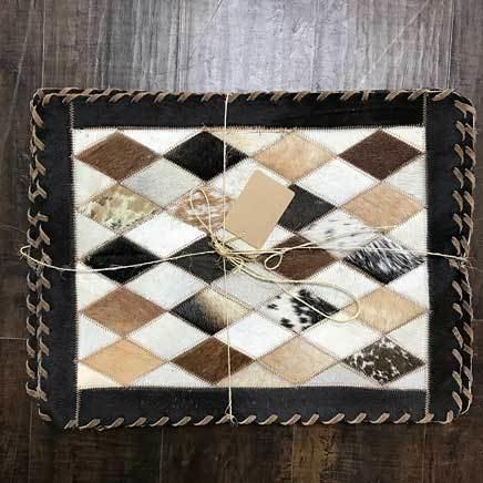 Set of 6 Cowhide diamond rectangular placemats