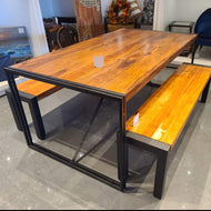 72 inch Kraanti Rosewood industrial dining table
