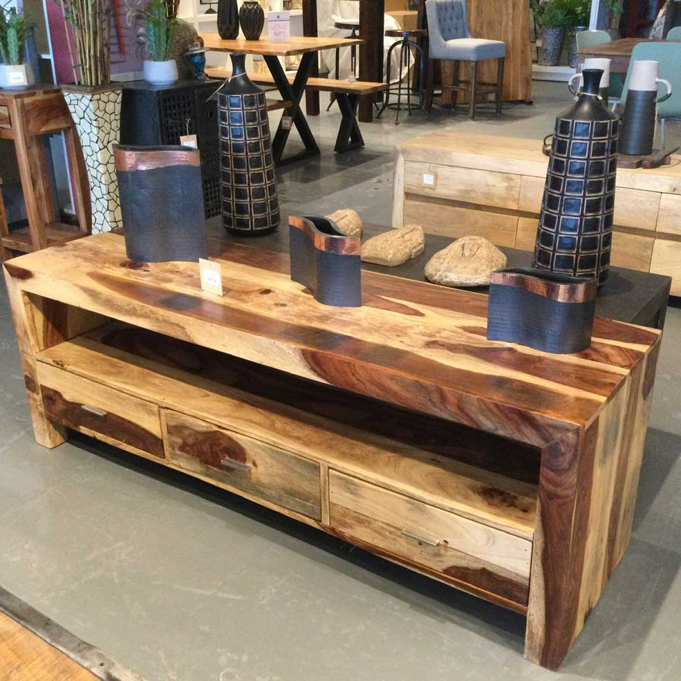 Natural Rosewood 3 drawer TV Stand