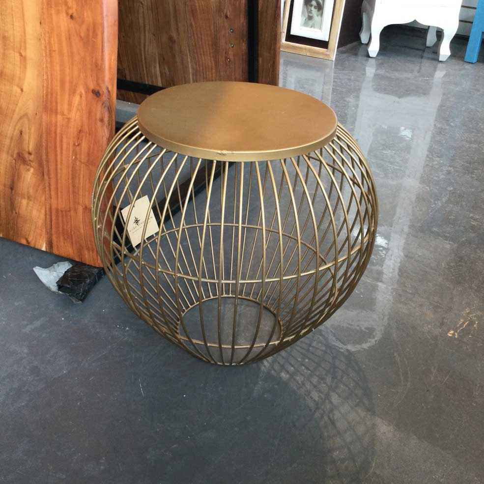 Round End Table Brass Finish