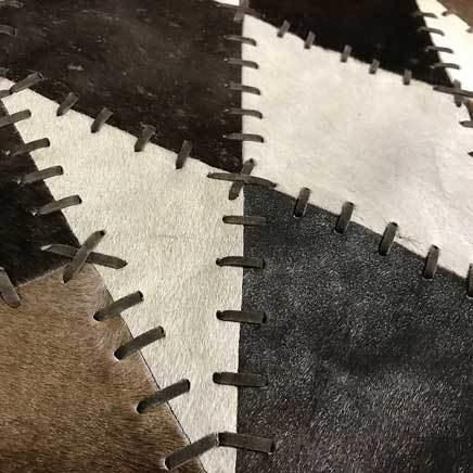 Wide 8 long cowhide table runner - BROWN AND WHITE