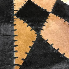 Load image into Gallery viewer, Wide 8 long cowhide table runner - BLACK AND BRINDLE