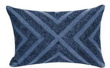 Load image into Gallery viewer, Blue chevron embroidery and stonewash 14 x 22 pillow