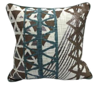 Brown blue pattern print pillow with piping 18 x 18