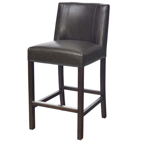 BROWN BONDED LEATHER COUNTER HEIGHT STOOL